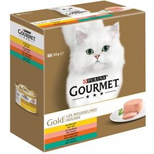 Gourmet Gold 8-Pack Mousse Huhn/Lachs/Niere/Kaninchen Katzenfutter